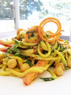 """Curried Veggie """"Noodle"""" Salad with Chickpeas – Vegan and Gluten-Free - Double or triple the veggies Raw Vegetables, Veggies, Veggie Recipes, Salad Recipes, Whole Plant Based Diet, Vegetable Noodles, Spiralizer Recipes, Pescatarian Recipes, Noodle Salad"""
