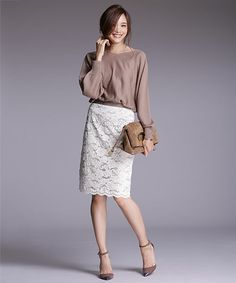 nano・universe  Ladys(ナノユニバースレディース)の【Oggi 11月号掲載】 起毛レースタイトスカート(スカート)|詳細画像