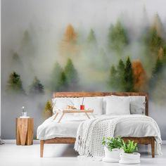 Be absolutely drawn into this gorgeous Autumn Dream wall mural wallpaper. It's custom-made to fit your wall.  Forest wallpaper and gorgeous tree wallpaper murals bring the natural beauty of the outdoors in. Ideal for application in any room, our forest murals are popular with homes and businesses all over the world! Get inspired today and click to ve wallpaper mural. Click to see more from Wallsauce! #wallmural #wallpaper #treewallpaper #bedroominspo #homedcor #forest #wallsauce Tree Wallpaper Mural, Forest Wallpaper, Tropical Wallpaper, Colorful Wallpaper, Forest Mural, Dream Wall, Bedroom Inspo, Designer Wallpaper, Wall Murals