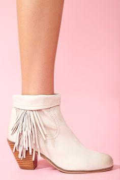 Louie Fringe Booties - Bone
