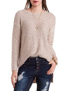 Fuzzy High-Low Tunic Sweater #charlotterusse #charlottelook