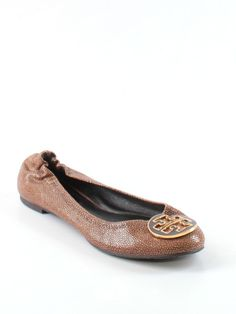 c571346b5f4 Women Tory Reva Coconut Brown Stingray Leather Ballet Flats Shoe Size 8 M   ToryBurch