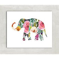 Elephant Silhouette Wall Art Print, Baby girl nursery Poster, Trunk Up- Watercolor Florals 8x10 Print ((unframed))