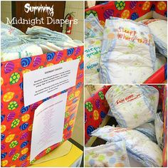 Midnight diapers... love this what a great shower idea