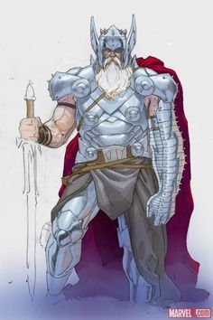 Old Thor. I can't believe that my darling Thor will look like this one day or I don't want to think about it Comic Book Characters, Marvel Characters, Comic Character, Comic Books Art, Comic Art, Marvel Comics Art, Marvel Comic Universe, Comics Universe, Odin Comics