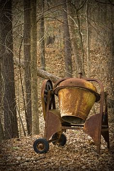 rusty old cement mixer