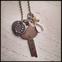 Lucky Key Wax Seal Charm Necklace, $34.00
