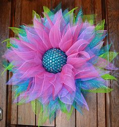 Items similar to Deco Mesh Flower Door Wreath, Wall & House Decor on Etsy Wreath Crafts, Wreath Ideas, Diy Wreath, Flower Crafts, Ribbon Wreaths, Deco Mesh Wreaths, Spring Door Wreaths, Summer Wreath, Creative Crafts