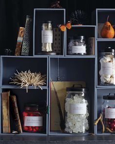 Tempt your guests with an array of candies masquerading as botanical or nautical artifacts. Create a cabinet of curiosities by arranging labeled jars in wooden cubbies.Print the Labels