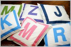 DIY Monogram Kids Pillows