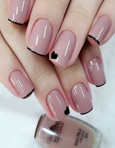 Top Class Bridal Nail Art Design for Spring… 20 Simple Black N. - Top Class Bridal Nail Art Design for Spring… 20 Simple Black Nail Art Design Idea - Nail Art Designs, Short Nail Designs, Nails Design, Acrylic Nails, Gel Nails, Nail Polish, Blue Ombre Nails, Bridal Nail Art, Black Nail Art