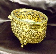 Filigree Brass Jewelry Box_Vintage Jewelry by GoldenBeeAntiques