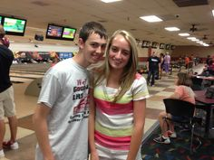 Wyatt Whewell (left) and Hannah Holmes, both of Lawrenceville, IL, take a break from the National Beta Convention in Mobile, IL to go bowling on June 21, 2013.