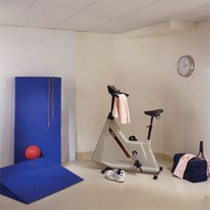 Create a clean and dedicated space in your basement to exercise.  #home gym, #exercise equipment; #basement