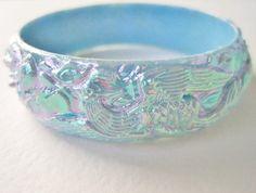 Vintage 60s Asian Art Nouveau RARE Carved Pastel Blue Aurora Borealis Dragon Pheasant Bangle Bracelet by ThePaisleyUnicorn, $12.00