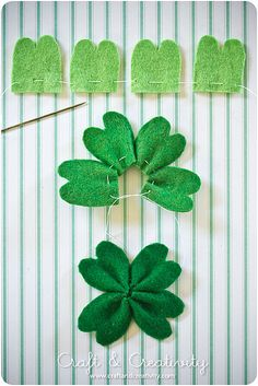 felt shamrock~cut the ends in a bit more, to make the leaves look fuller.