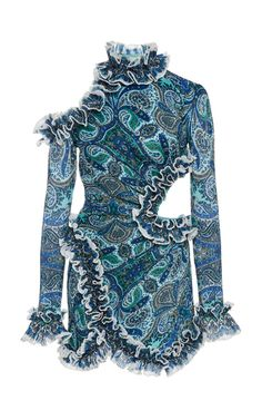 Zimmermann Moncur Ruffle Neck Mini Dress in aqua paisley. Made from a paisley-printed plisse fabric, the dress is decorated with ruffled trim High mock neckline, unlined Concealed zip fastening at side Composition: polyester, viscose Dry clean Imported Teen Fashion, High Fashion, Fashion Show, Womens Fashion, Fashion Design, Stage Outfits, Chic Outfits, Teen Outfits, Mode Chic