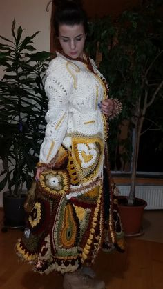 Freeorm Coat/Hand crocheted long Winter Freeform Coat/White