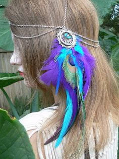 head chain peacock feather head chain headdress halo head in tribal Native American inspired bohemian gypsy hippie hipster style