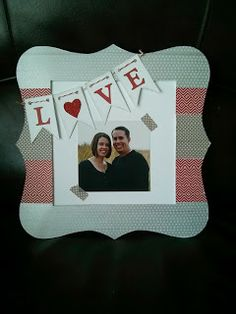 Love Frame. CTMH products used: Z1797 Bracket Frame, Z1933 Ruby Chevron Washi Tape, Z1932 Geometric Washi Tape, Z1817 Slate Polka-Dot Washi Tape, Z1751 Harvest Assortment Bakers Twine, Z1848 Red Shimmer Trim, Z1686 Art Philosophy Cricut Cartridge.  Supplies can be purchased at www.ctmh.com/juliescott