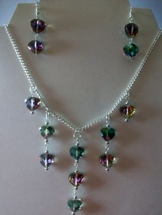 Crystal Heart Necklace and Earrings | juniquegoods - Jewelry on ArtFire