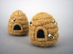 Needle Felted Beehive Ornament by aronlowe on Etsy
