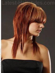 shag layered hairstyles with blunt bangs for medium hair