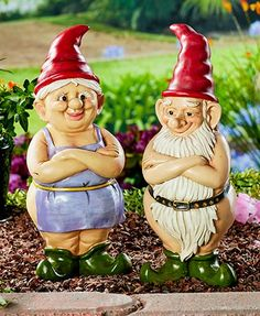 "Cause passers-by to smile with this 14"" Naked Gnome Garden Statue in your yard. Strategically placed clothing or facial hair covers the front while a bare backside hangs out for all to see. Approx. 5""W x 4-1/4""D x 13-5/8""H. Cold cast ceramic."