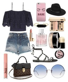 """Outfit #51"" by caileyhannah on Polyvore featuring Ganni, BaubleBar, River Island, Chanel, Jimmy Choo, Rebecca Minkoff, Too Faced Cosmetics, Linda Farrow and Lack of Color"