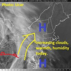 High pressure drifts offshore allowing a warm front to approach the region.