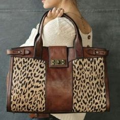 Bolsa estampa onça - Fossil leather and leopard print bag