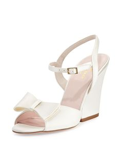 imari satin wedge sandal, ivory, Women's, Size: 39 EU (9B US) - kate spade new york