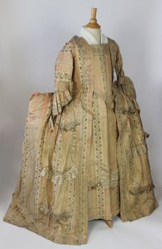 MET Museum~ 18th Century Royal Court Sacque Back Robe in Pink and Floral c 1740
