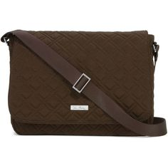 Vera Bradley Laptop Messenger Crossbody Bag in Espresso (1,150 MXN) ❤ liked on Polyvore featuring bags, messenger bags, accessories, espresso, brown cross body bag, vera bradley bags, crossbody bags, brown crossbody bag and courier bag