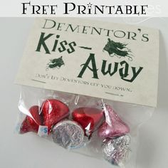 Pieces by Polly: Free Harry Potter Themed Printable - Dementor's Kiss-Away - Valentine or Party Favors Baby Harry Potter, Harry Potter Snacks, Harry Potter Thema, Harry Potter Potions, Harry Potter Baby Shower, Harry Potter Wedding, Harry Potter Birthday, Dementor's Kiss, Harry Potter Cosplay