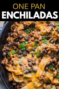 Super easy One Pan Enchiladas! This easy Mexican dish is ready in 20 minutes and so good! The perfect gluten free dish!  #onepanrecipe
