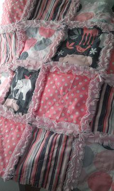 Rag Quilt Baby Zoology Minky Security Blanket Girl Michael Miller. $22.00, via Etsy.
