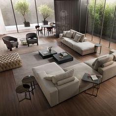 Home Room Design, Home Interior Design, Living Room Designs, Living Room Modern, Home Living Room, Living Room Decor, Apartment Interior, Living Room Interior, Painel Tv Sala Grande