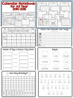 Turn your morning calendar routine into an interactive learning experience for all, with Calendar Notebooks for All Year 2014-2015.  Includes multiple calendar, weather number of days in school pages and much more.