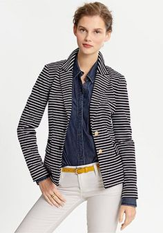 YouLookFab: How to wear a striped blazer.    (As if I needed more reasons to put a striped blazer on my wish list!)