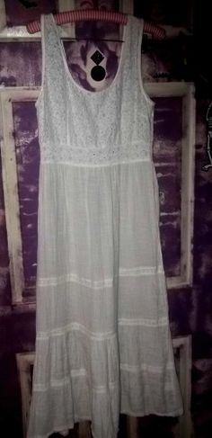 UO Reformed By The Reformation Eyelet and Gauze tired  Maxi Dress sz l Urban out
