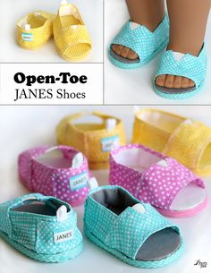 Pixie Faire Liberty Jane Open-Toe JANES Doll Clothes Pattern for 18 inch American Girl - Pixie Faire - Baby shoes - American Girl Outfits, American Girl Doll Shoes, American Doll Clothes, Girl Doll Clothes, American Girls, Barbie Clothes, Baby Doll Shoes, Barbie Dress, Sewing Dolls