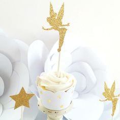 Gold Tinkerbell Cupcake Toppers, Fairy Party, Cupcake Toppers, Fairy Birthday, Cake Topper
