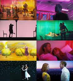 La La Land a. the movie with the brightest color pallet I'll probably ever see in my life. Beau Film, Bright Color Pallets, Color In Film, Damien Chazelle, Dramas, Cinema Tv, Between Two Worlds, Movie Shots, Film Aesthetic