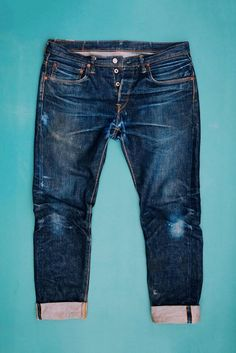 ED-55 Made in Japan edwin jeans long john blog 14oz selvage selvedge blue indigo raw rigid unwashed red listing leather patch worn-out spijkerbroek (2)