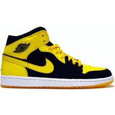 Shop Air Jordan 1 I Retro Trainers BMP Split Black Yellow nike running... ❤ liked on Polyvore featuring shoes, nike, retro inspired shoes, retro style shoes, nike shoes and yellow shoes