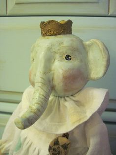 Primitive Vintage Inspired Queen Elephant Clown Doll