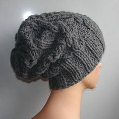 Handmade Knit Cable Hat Beanie Slouchy Hat  Large Men GRAY  hat Baggy cabled Slouchy hat Warm hat Mens Hats chunky slouchy hat women slouchy