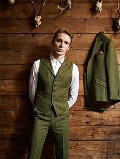 Three Piece Tweed Suit. Tweed Waistcoat with Lapels.  tweed suit wedding, tweed suit groom, tweed suit men