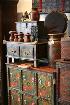Beautiful Tibetan furniture painted and very boho chic
